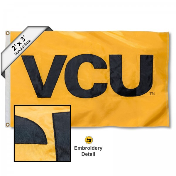 VCU Rams Small 2'x3' Flag measures 2x3 feet, is made of 100% nylon, offers quadruple stitched flyends, has two brass grommets, and offers embroidered VCU Rams logos, letters, and insignias. Our 2x3 foot flag is Officially Licensed by the selected university.