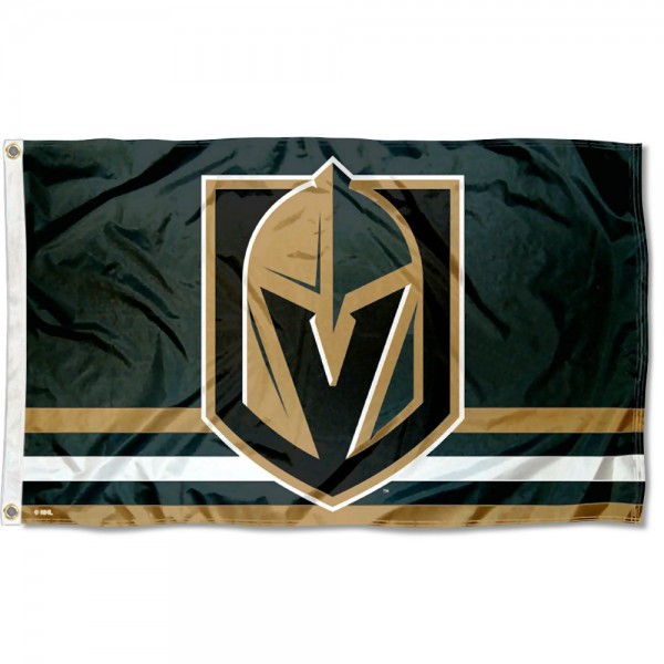 The Vegas Golden Knights Flag is four-stitched bordered, double sided, made of poly, 3'x5', and has two grommets. These Vegas Golden Knights Flags are NHL Genuine Merchandise.