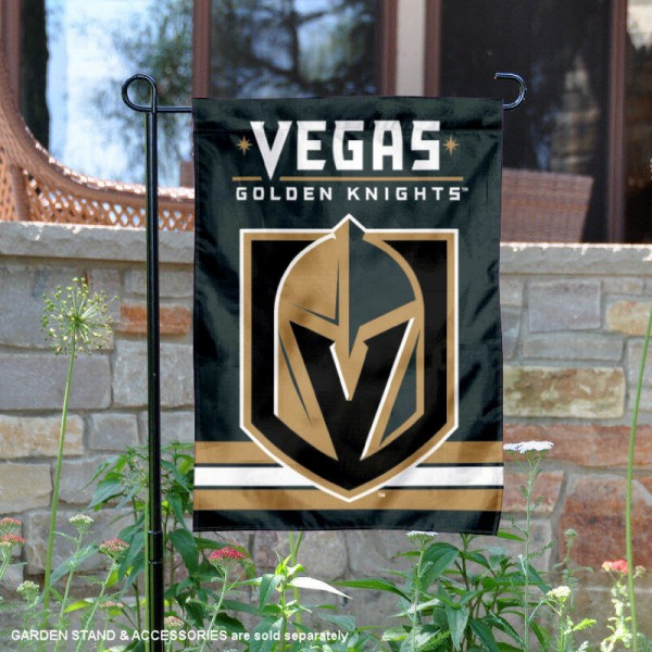 Vegas Golden Knights Garden Flag is 12.5x18 inches in size, is made of 2-ply polyester, and has two sided screen printed logos and lettering. Available with Express Next Day Ship, our Vegas Golden Knights Garden Flag is NHL Officially Licensed and is double sided.