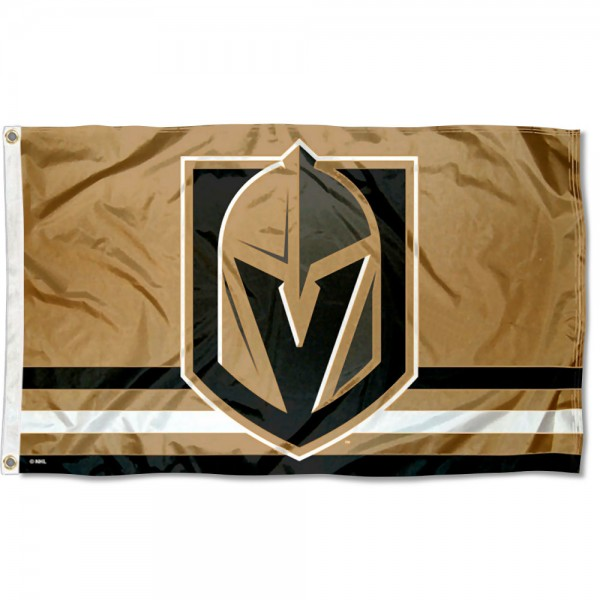 The Vegas Golden Knights Gold Flag is four-stitched bordered, double sided, made of poly, 3'x5', and has two grommets. These Vegas Golden Knights Gold Flags are NHL Genuine Merchandise.