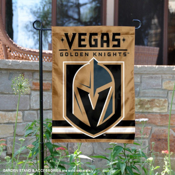 Vegas Golden Knights Gold Garden Banner is 12.5x18 inches in size, is made of 2-ply polyester, and has two sided screen printed logos and lettering. Available with Express Next Day Ship, our Vegas Golden Knights Gold Garden Banner is NHL Officially Licensed and is double sided.