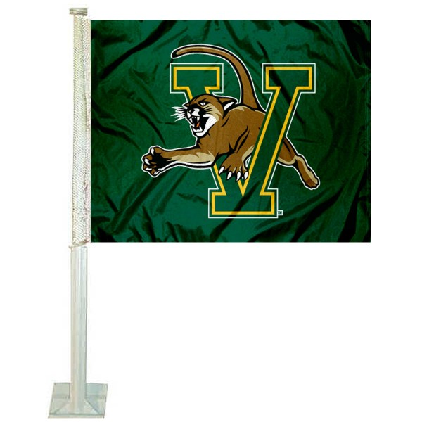 Vermont Catamounts Car Flag measures 12x15 inches, is constructed of sturdy 2 ply polyester, and has screen printed school logos which are readable and viewable correctly on both sides. Vermont Catamounts Car Flag is officially licensed by the NCAA and selected university.