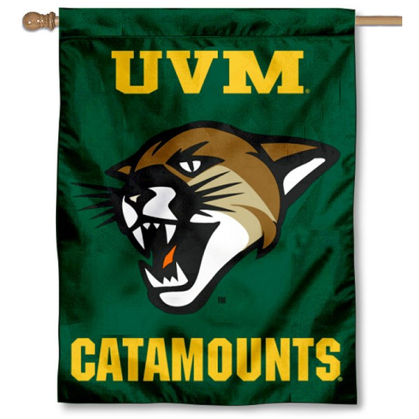 Vermont Catamounts New Logo Double Sided House Flag is a vertical house flag which measures 30x40 inches, is made of 2 ply 100% polyester, offers screen printed NCAA team insignias, and has a top pole sleeve to hang vertically. Our Vermont Catamounts New Logo Double Sided House Flag is officially licensed by the selected university and the NCAA.
