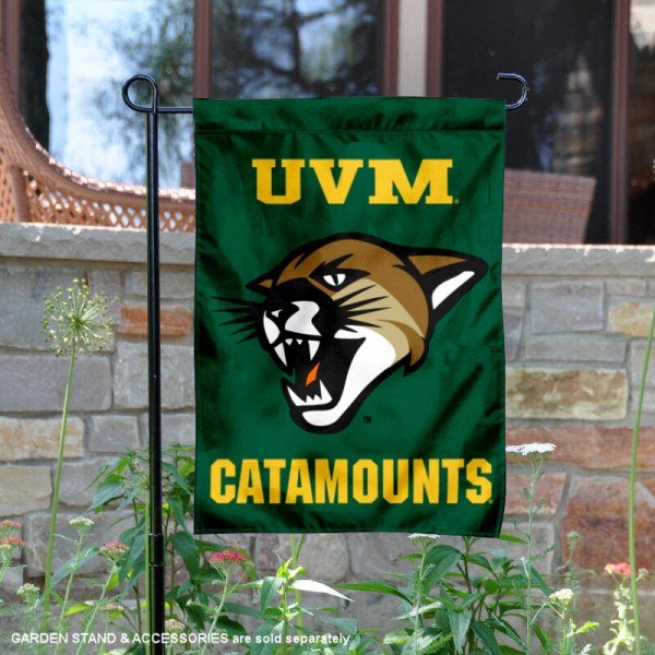 Vermont Catamounts UVM New Cat Flag is 13x18 inches in size, is made of 2-layer polyester, screen printed university athletic logos and lettering, and is readable and viewable correctly on both sides. Available same day shipping, our Vermont Catamounts UVM New Cat Flag is officially licensed and approved by the university and the NCAA.