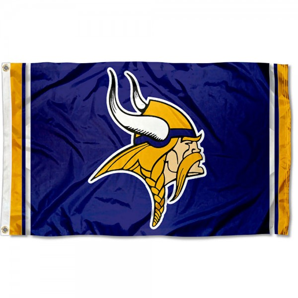 Our Vikings Logo Flag is double sided, made of poly, 3'x5', has two grommets, and four-stitched fly ends. These Vikings Logo Flags are Officially Licensed by the NFL.