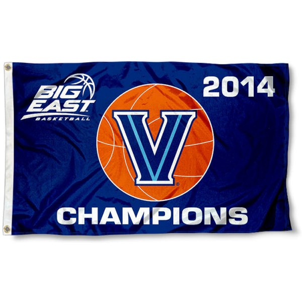 Villanova Big East 2014 Conference Champs Flag measures 3'x5', is made of 100% poly, has quadruple stitched sewing, two metal grommets, and has double sided Villanova Wildcats logos. Our Villanova Wildcats Logo Outdoor Flag is officially licensed by the selected university and the NCAA.