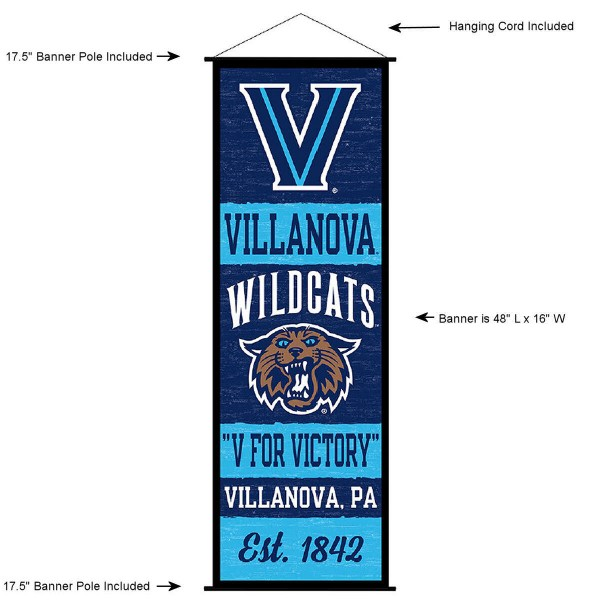 "This ""ready to hang"" Villanova University Decor and Banner is made of polyester material, measures a large 17.5"" x 48"", offers screen printed athletic logos, and includes both top and bottom 3/4"" diameter plastic banner poles and hanging cord. Our Villanova University D�cor and Banner is Officially Licensed by the selected college and NCAA."