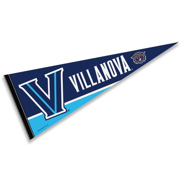 Villanova University Decorations consists of our full size pennant which measures 12x30 inches, is constructed of felt, single sided imprinted, and offers a pennant sleeve for insertion of a pennant stick, if desired. These Villanova University Decorations are Officially Licensed by the selected University and the NCAA.
