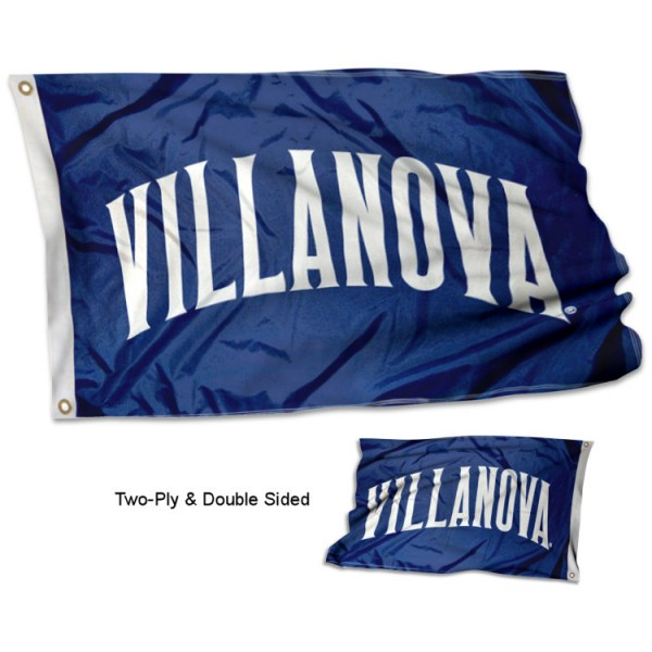 Villanova University Stadium Flag measures 3'x5' in size, is made of 2 layer with linder 100% polyester, has quadruple stitched fly ends for durability, and is viewable and readable correctly on both sides. Our Villanova University Stadium Flag is officially licensed by the university, school, and the NCAA.