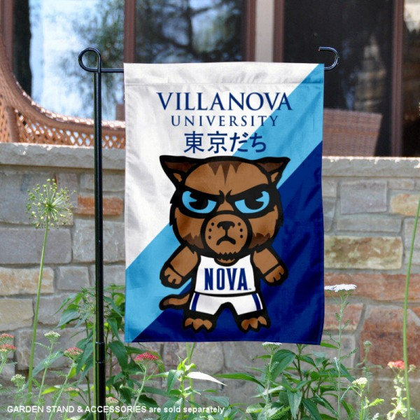 Villanova University Tokyodachi Mascot Yard Flag is 13x18 inches in size, is made of double layer polyester, screen printed university athletic logos and lettering, and is readable and viewable correctly on both sides. Available same day shipping, our Villanova University Tokyodachi Mascot Yard Flag is officially licensed and approved by the university and the NCAA.