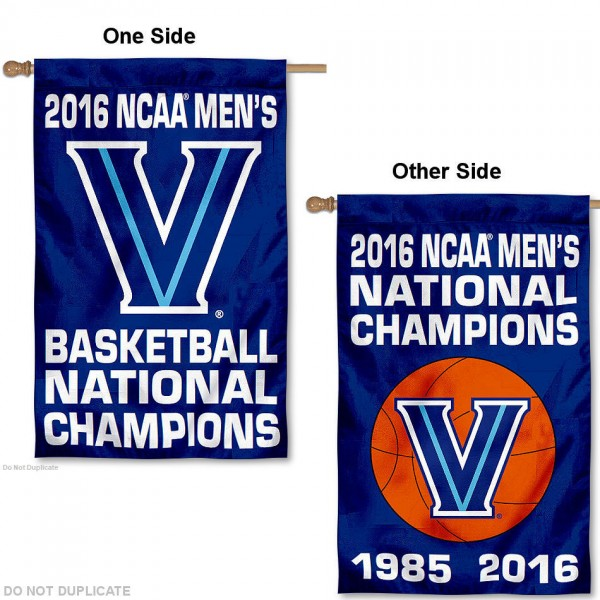Villanova Wildcats 2 Time National Champs House Flag is a vertical house flag which measures 30x40 inches, is made of 2 ply 100% polyester, offers screen printed NCAA team insignias, and has a top pole sleeve to hang vertically. Our Villanova Wildcats 2 Time National Champs House Flag is officially licensed by the selected university and the NCAA.