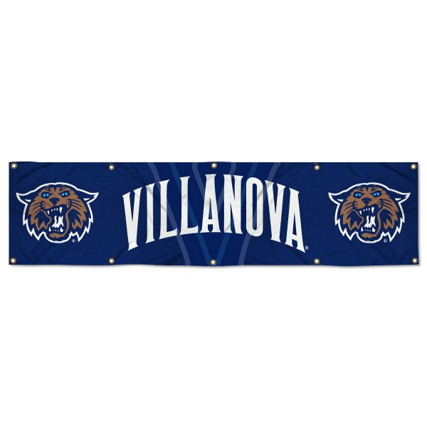 Villanova Wildcats 8 Foot Large Banner measures 2x8 feet and displays Villanova Wildcats logos. Our Villanova Wildcats 8 Foot Large Banner is made of thick polyester and ten grommets around the perimeter for hanging securely. These banners for Villanova Wildcats are officially licensed by the NCAA.
