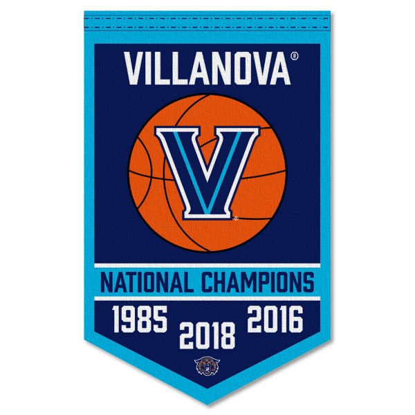 Villanova Wildcats Basketball National Champions Banner consists of our sports dynasty year banner which measures 15x24 inches, is constructed of rigid felt, is single sided imprinted, and offers a pennant sleeve for insertion of a pennant stick, if desired. This sports banner is a unique collectible and keepsake of the legacy game and is Officially Licensed and University, School, and College Approved.
