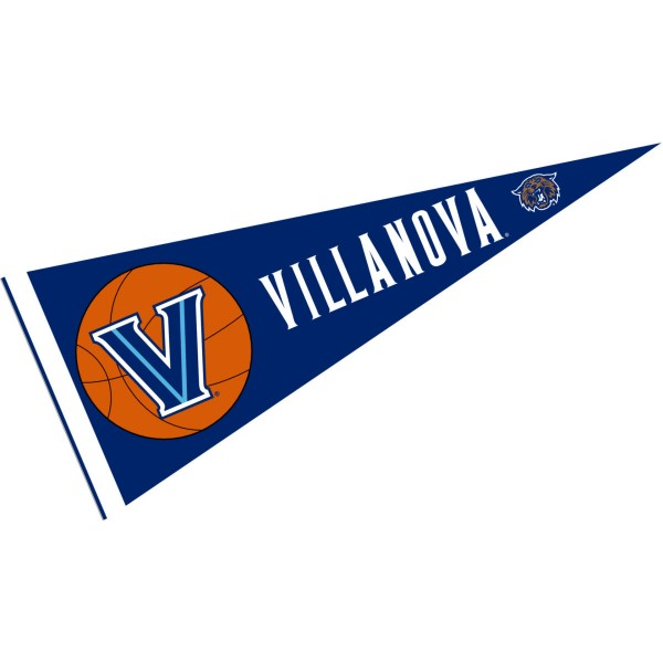 Villanova Wildcats Basketball Pennant consists of our full size sports pennant which measures 12x30 inches, is constructed of felt, is single sided imprinted, and offers a pennant sleeve for insertion of a pennant stick, if desired. This Villanova Wildcats Pennant Decorations is Officially Licensed by the selected university and the NCAA.