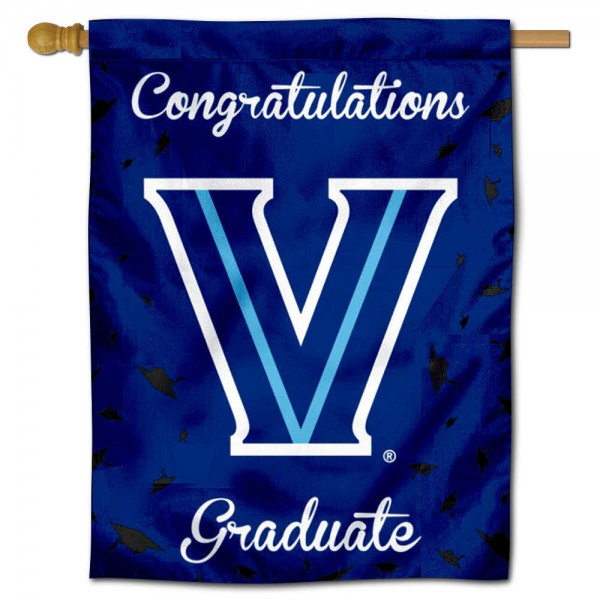 Villanova Wildcats Congratulations Graduate Flag measures 30x40 inches, is made of poly, has a top hanging sleeve, and offers dye sublimated Villanova Wildcats logos. This Decorative Villanova Wildcats Congratulations Graduate House Flag is officially licensed by the NCAA.