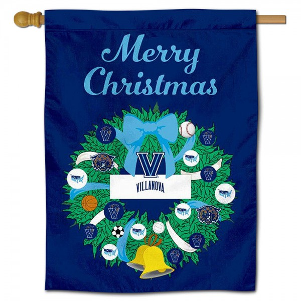 Villanova Wildcats Happy Holidays Banner Flag measures 30x40 inches, is made of poly, has a top hanging sleeve, and offers dye sublimated Villanova Wildcats logos. This Decorative Villanova Wildcats Happy Holidays Banner Flag is officially licensed by the NCAA.