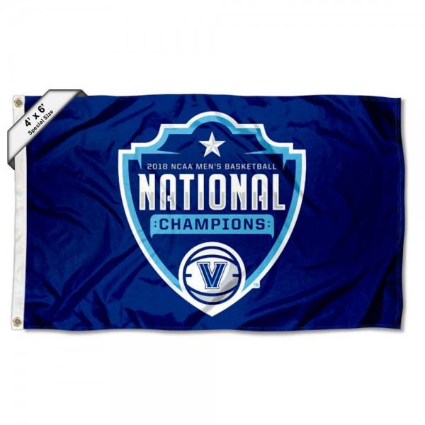 Villanova Wildcats National Champions 2018 4x6 Foot Flag measures 4x6 feet, is made thick woven polyester, has quadruple stitched flyends, two metal grommets, and offers screen printed NCAA Villanova Wildcats Large athletic logos and insignias. Our Villanova Wildcats National Champions 2018 4x6 Foot Flag is officially licensed by Villanova Wildcats and the NCAA.