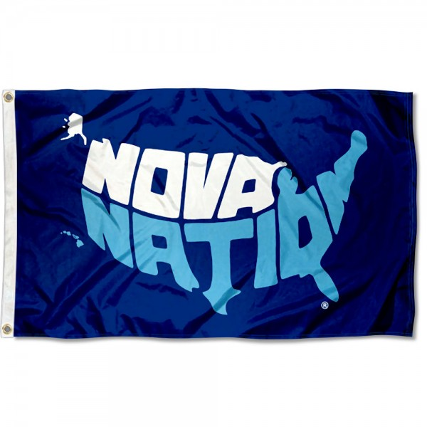 Villanova Wildcats Nova Nation Flag measures 3x5 feet, is made of 100% polyester, offers quadruple stitched flyends, has two metal grommets, and offers screen printed NCAA team logos and insignias. Our Villanova Wildcats Nova Nation Flag is officially licensed by the selected university and NCAA.