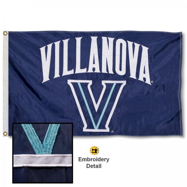 Villanova Wildcats Nylon Embroidered Flag measures 3'x5', is made of 100% nylon, has quadruple flyends, two metal grommets, and has double sided appliqued and embroidered University logos. These Villanova Wildcats 3x5 Flags are officially licensed by the selected university and the NCAA.