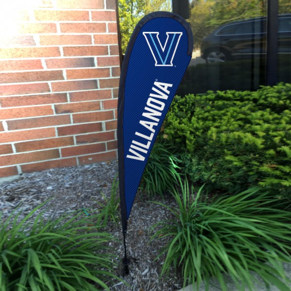 Villanova Wildcats Small Feather Flag measures a 4' tall when fully assembled and roughly 1' wide. The kit includes a Feather Flag, 2 Piece Fiberglass Pole, pole connector, and matching Ground Stake. Our Villanova Wildcats Small Feather Flag easily assembles and is NCAA Officially Licensed by the selected school or university.