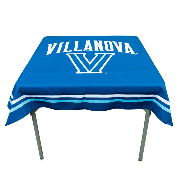 Villanova Wildcats Table Cloth measures 48 x 48 inches, is made of 100% Polyester, seamless one-piece construction, and is perfect for any tailgating table, card table, or wedding table overlay. Each includes Officially Licensed Logos and Insignias.