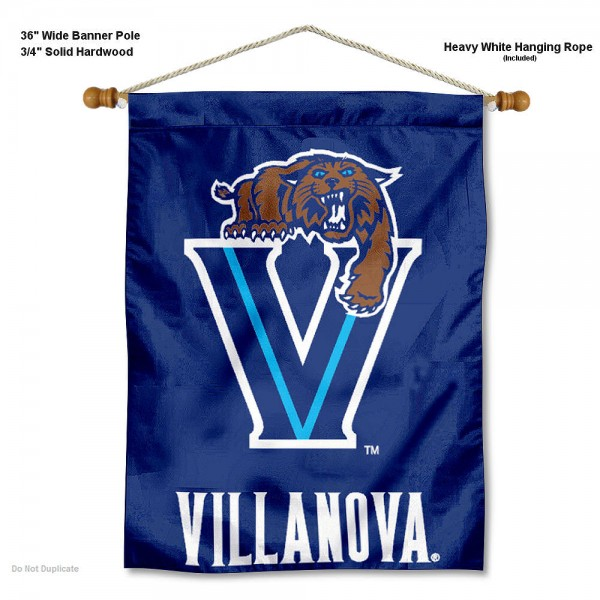 "Villanova Wildcats Wall Banner is constructed of polyester material, measures a large 30""x40"", offers screen printed athletic logos, and includes a sturdy 3/4"" diameter and 36"" wide banner pole and hanging cord. Our Villanova Wildcats Wall Banner is Officially Licensed by the selected college and NCAA."