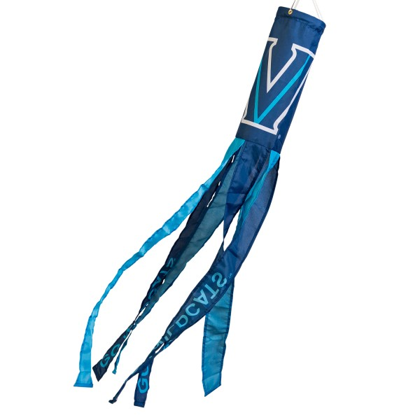 "Villanova Wildcats Windsock measures 40"" in length by 5"" in width, is made of 100% polyester, offers screen printed NCAA team logos, team names and insignias, has 6 alternative colored streamers and tails, includes a double stringed bridle and hanging swivel clip, and our Villanova Wildcats Windsock is authentic, licensed, and approved by the selected university or team."