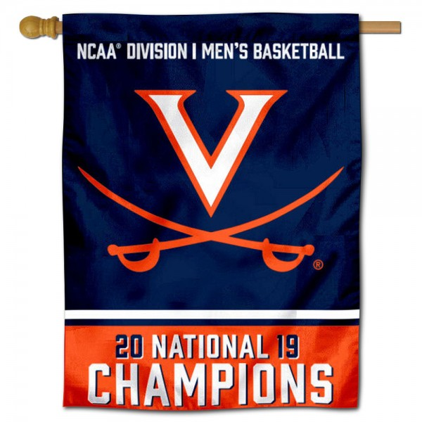 Virginia Cavaliers 2019 Mens Basketball Champions Double Sided House Flag is a vertical house flag which measures 30x40 inches, is made of 2 ply 100% polyester, offers screen printed NCAA team insignias, and has a top pole sleeve to hang vertically. Our Virginia Cavaliers 2019 Mens Basketball Champions Double Sided House Flag is officially licensed by the selected university and the NCAA.