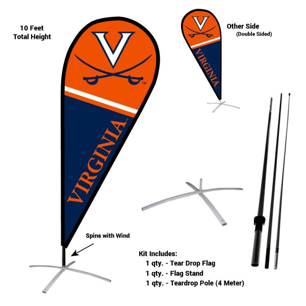 Virginia Cavaliers Feather Flag Kit measures a tall 10' when fully assembled. The kit includes a Feather Flag, 3 Piece Fiberglass Pole, and matching Metal Feather Flag Stand. Our Virginia Cavaliers Feather Flag Kit easily assembles and is NCAA Officially Licensed by the selected school or university.