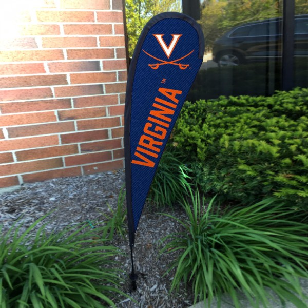 Virginia Cavaliers Small Feather Flag measures a 4' tall when fully assembled and roughly 1' wide. The kit includes a Feather Flag, 2 Piece Fiberglass Pole, pole connector, and matching Ground Stake. Our Virginia Cavaliers Small Feather Flag easily assembles and is NCAA Officially Licensed by the selected school or university.