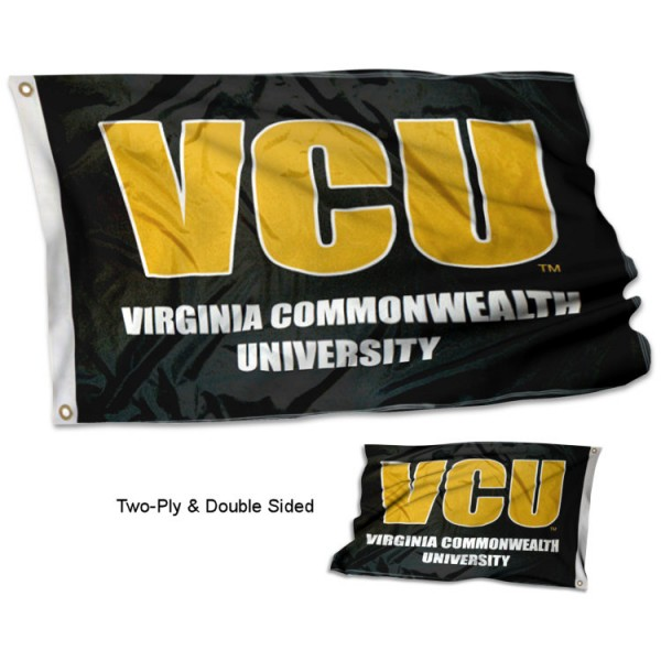 Virginia Commonwealth VCU Double Sided 3x5 Flag measures 3'x5', is made of 2 layer 100% polyester, has quadruple stitched flyends for durability, and is readable correctly on both sides. Our Virginia Commonwealth VCU Double Sided 3x5 Flag is officially licensed by the university, school, and the NCAA.