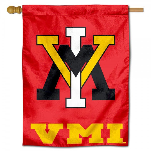 "Virginia Military Institute House Flag is constructed of polyester material, is a vertical house flag, measures 30""x40"", offers screen printed athletic insignias, and has a top pole sleeve to hang vertically. Our Virginia Military Institute House Flag is Officially Licensed by Virginia Military Institute and NCAA."