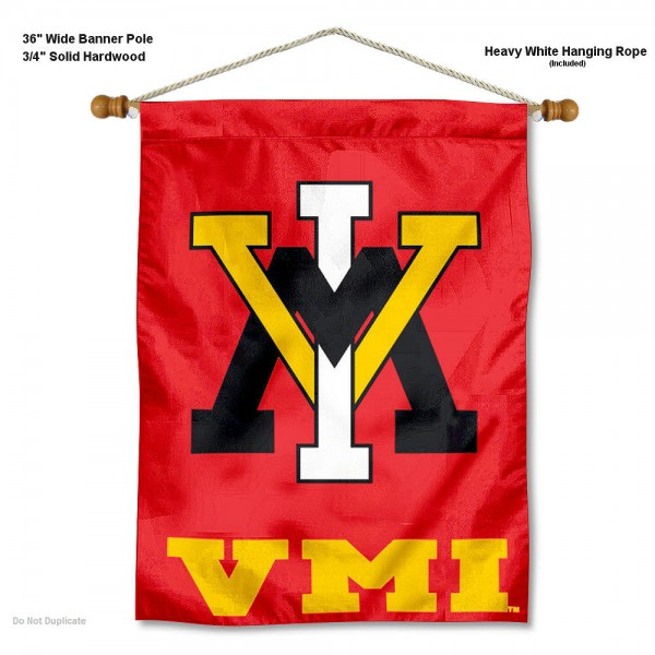 "Virginia Military Keydets Wall Banner is constructed of polyester material, measures a large 30""x40"", offers screen printed athletic logos, and includes a sturdy 3/4"" diameter and 36"" wide banner pole and hanging cord. Our Virginia Military Keydets Wall Banner is Officially Licensed by the selected college and NCAA."