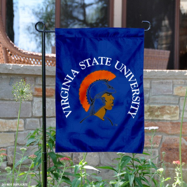 Virginia State University Garden Flag is 13x18 inches in size, is made of 2-layer polyester, screen printed Virginia State University athletic logos and lettering. Available with Same Day Express Shipping, Our Virginia State University Garden Flag is officially licensed and approved by Virginia State University and the NCAA.