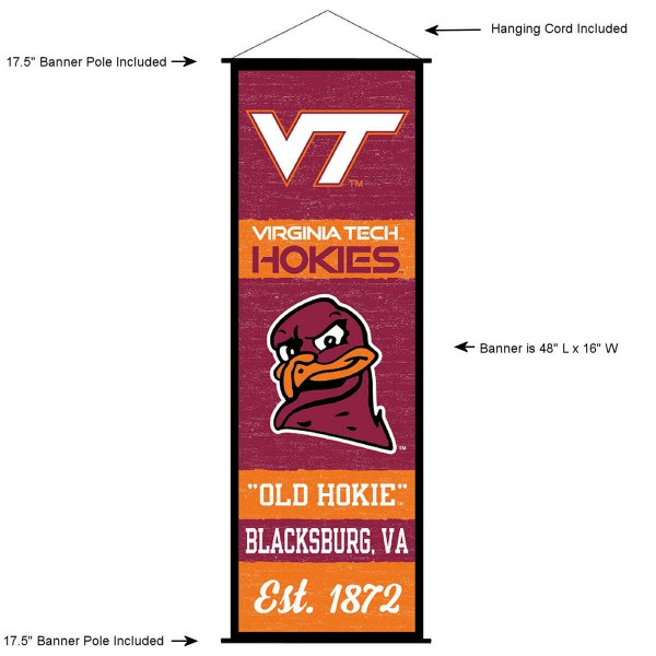"""This """"ready to hang"""" Virginia Tech Decor and Banner is made of polyester material, measures a large 17.5"""" x 48"""", offers screen printed athletic logos, and includes both top and bottom 3/4"""" diameter plastic banner poles and hanging cord. Our Virginia Tech D�cor and Banner is Officially Licensed by the selected college and NCAA."""
