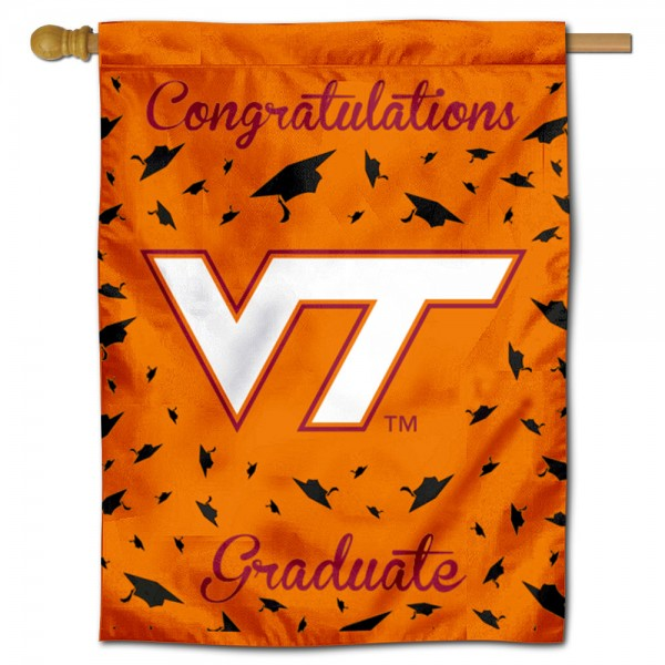 Virginia Tech Hokies Congratulations Graduate Flag measures 30x40 inches, is made of poly, has a top hanging sleeve, and offers dye sublimated Virginia Tech Hokies logos. This Decorative Virginia Tech Hokies Congratulations Graduate House Flag is officially licensed by the NCAA.