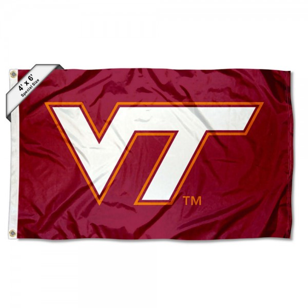 Virginia Tech Hokies Large 4x6 Flag measures 4x6 feet, is made thick woven polyester, has quadruple stitched flyends, two metal grommets, and offers screen printed NCAA Virginia Tech Hokies Large athletic logos and insignias. Our Virginia Tech Hokies Large 4x6 Flag is officially licensed by Virginia Tech Hokies and the NCAA.