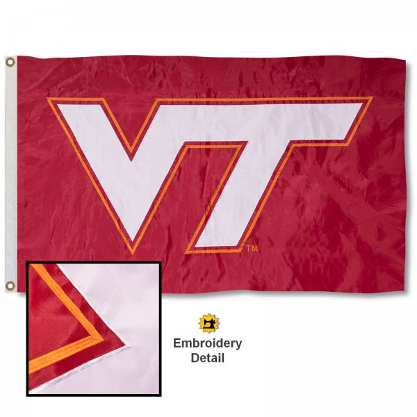 Virginia Tech Hokies Nylon Embroidered Flag measures 3'x5', is made of 100% nylon, has quadruple flyends, two metal grommets, and has double sided appliqued and embroidered University logos. These Virginia Tech Hokies 3x5 Flags are officially licensed by the selected university and the NCAA.