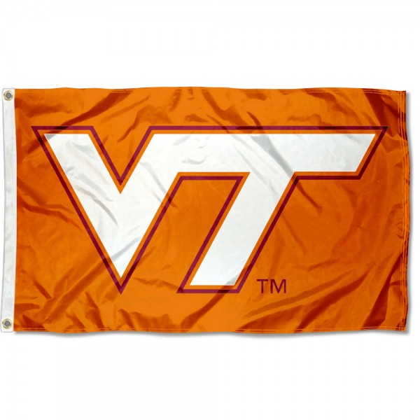 Virginia Tech Hokies Orange VT Logo Flag measures 3x5 feet, is made of 100% polyester, offers quadruple stitched flyends, has two metal grommets, and offers screen printed NCAA team logos and insignias. Our Virginia Tech Hokies Orange VT Logo Flag is officially licensed by the selected university and NCAA.