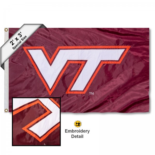 Virginia Tech Hokies Small 2'x3' Flag measures 2x3 feet, is made of 100% nylon, offers quadruple stitched flyends, has two brass grommets, and offers embroidered Virginia Tech Hokies logos, letters, and insignias. Our 2x3 foot flag is Officially Licensed by the selected university.