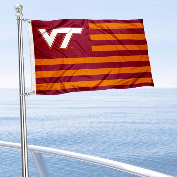Virginia Tech Hokies Striped Nation and Mini Flag is 12x18 inches, polyester, offers quadruple stitched flyends for durability, has two metal grommets, and is double sided. Our mini flags for Virginia Tech are licensed by the university and NCAA and can be used as a boat flag, motorcycle flag, golf cart flag, or ATV flag.