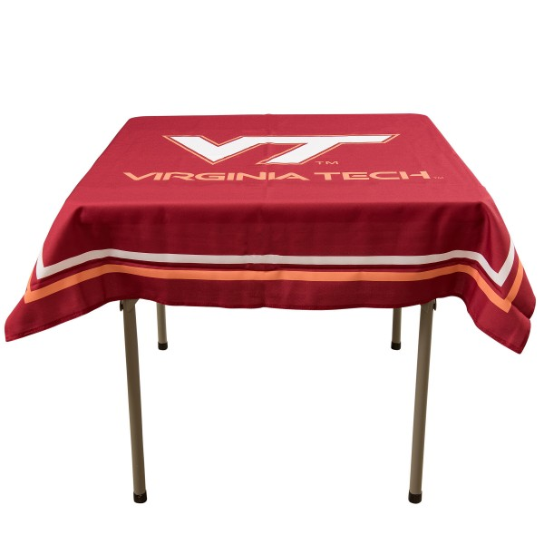 Virginia Tech Hokies Table Cloth measures 48 x 48 inches, is made of 100% Polyester, seamless one-piece construction, and is perfect for any tailgating table, card table, or wedding table overlay. Each includes Officially Licensed Logos and Insignias.