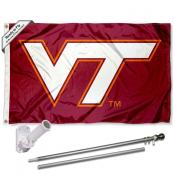 Virginia Tech Hokies VT Logo Flag Pole and Bracket Kit
