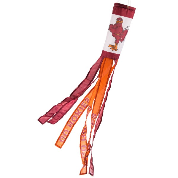 "Virginia Tech Hokies Windsock measures 40"" in length by 5"" in width, is made of 100% polyester, offers screen printed NCAA team logos, team names and insignias, has 6 alternative colored streamers and tails, includes a double stringed bridle and hanging swivel clip, and our Virginia Tech Hokies Windsock is authentic, licensed, and approved by the selected university or team."