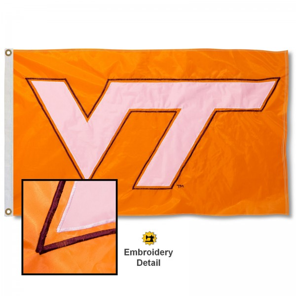 Virginia Tech Orange Nylon Embroidered Flag measures 3'x5', is made of 100% nylon, has quadruple flyends, two metal grommets, and has double sided appliqued and embroidered University logos. These Virginia Tech 3x5 Flags are officially licensed by the selected university and the NCAA.