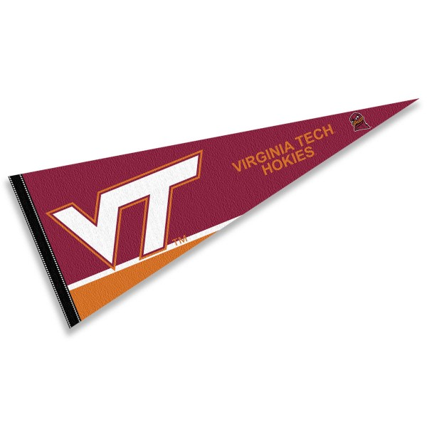Virginia Tech Pennant consists of our full size sports pennant which measures 12x30 inches, is constructed of felt, is single sided imprinted, and offers a pennant sleeve for insertion of a pennant stick, if desired. This Va Tech Hokies Pennant Decorations is Officially Licensed by the selected university and the NCAA.