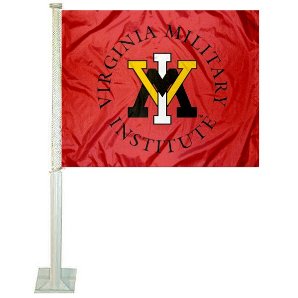 VMI Keydets Car Window Flag measures 12x15 inches, is constructed of sturdy 2 ply polyester, and has dye sublimated school logos which are readable and viewable correctly on both sides. VMI Keydets Car Window Flag is officially licensed by the NCAA and selected university.