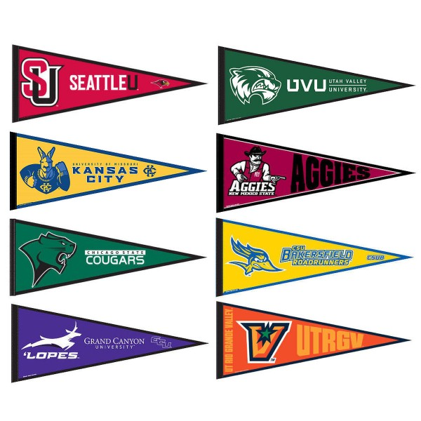 WAC Conference Pennants consists of all Western Athletic Conference school pennants and measure 12x30 inches. All 8 Western Athletic Conference teams are included and the WAC Conference Pennants is officially licensed by the NCAA and selected conference schools.