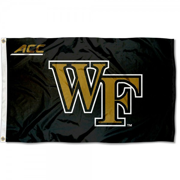 Wake Forest ACC Flag measures 3'x5', is made of 100% poly, has quadruple stitched sewing, two metal grommets, and has double sided Team University logos. Our Wake Forest ACC Flag is officially licensed by the selected university and the NCAA.