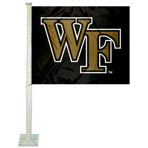 Wake Forest Car Window Flag measures 12x15 inches, is constructed of sturdy 2 ply polyester, and has screen printed school logos which are readable and viewable correctly on both sides. Wake Forest Car Window Flag is officially licensed by the NCAA and selected university.